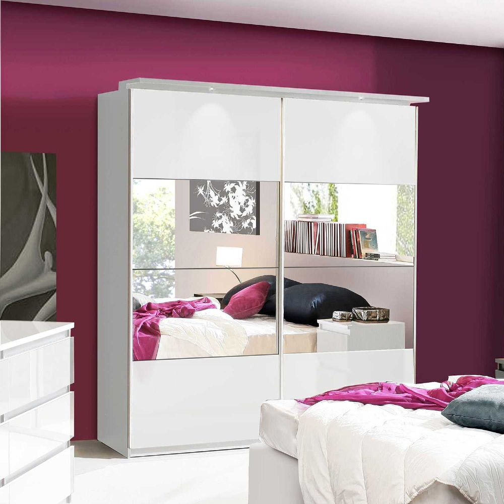 Louise White Gloss Mirrored Sliding Wardrobe - 2552